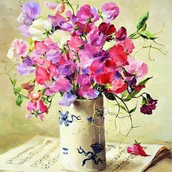 Jigsaw puzzle: Sweet peas and music