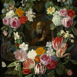 Jigsaw puzzle: Icon in a flower garland