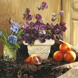 Jigsaw puzzle: Sweet peas and oranges