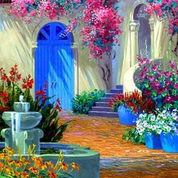 Jigsaw puzzle: Courtyard with a fountain