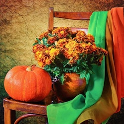 Jigsaw puzzle: Marigolds and pumpkin