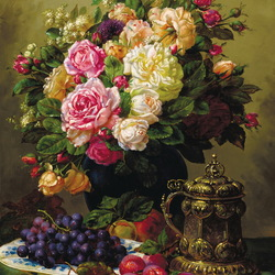Jigsaw puzzle: Bouquet of roses and grapes