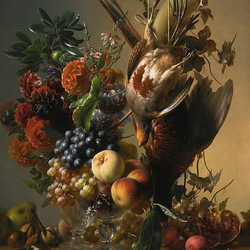 Jigsaw puzzle: Still life with dahlias and grapes