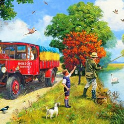 Jigsaw puzzle: Fishing after lunch