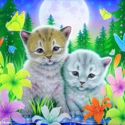 Jigsaw puzzle: Kittens in lilies
