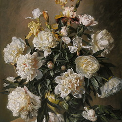 Jigsaw puzzle: White peonies