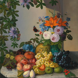 Jigsaw puzzle: Still life with bouquet and fruit