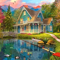 Jigsaw puzzle: Blue cottage