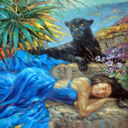 Jigsaw puzzle: Girl and panther