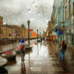 Jigsaw puzzle: Rain in St. Petersburg