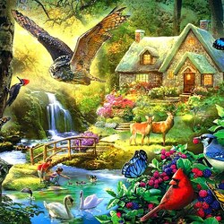 Jigsaw puzzle: Forest cottage