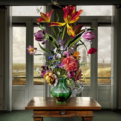 Jigsaw puzzle: Bouquet in the window