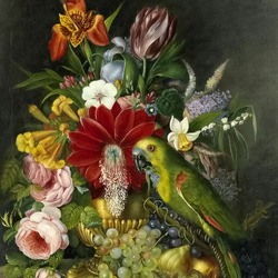 Jigsaw puzzle: Still life with flowers and a parrot