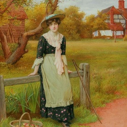 Jigsaw puzzle: Girl with a basket of apples