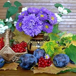 Jigsaw puzzle: Still life with viburnum and plums