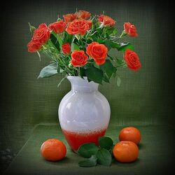 Jigsaw puzzle: Roses and tangerines