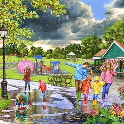 Jigsaw puzzle: Walk under the rain
