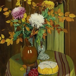 Jigsaw puzzle: Chrysanthemums and autumn leaves