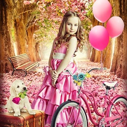 Jigsaw puzzle: Girl with a pink bike