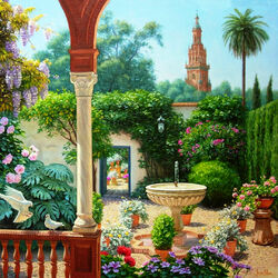 Jigsaw puzzle: Patio with fountain