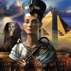 Jigsaw puzzle: Nefertiti and Pharaoh. The beauty and the Beast