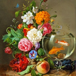 Jigsaw puzzle: Bouquet of flowers and goldfish