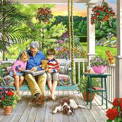 Jigsaw puzzle: Grandchildren with grandfather