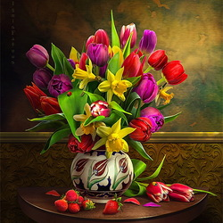 Jigsaw puzzle: Still life with tulips and strawberries