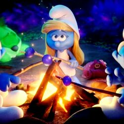 Jigsaw puzzle: Smurfs by the fire