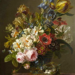 Jigsaw puzzle: Floral still life with nest