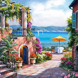 Jigsaw puzzle: Terrace by the sea