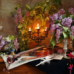 Jigsaw puzzle: Still life with violin and lilac