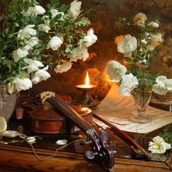 Jigsaw puzzle: Still life with violin and roses