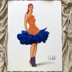 Jigsaw puzzle: Orange Lentil and Blue Feather Dress