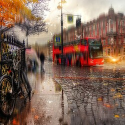 Jigsaw puzzle: Autumn rain on Nevsky