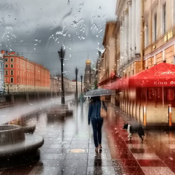 Jigsaw puzzle: Rainy morning in St. Petersburg