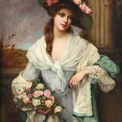 Jigsaw puzzle: Lady with flowers