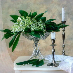 Jigsaw puzzle: Still life with lilies of the valley and candles