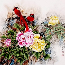 Jigsaw puzzle: Birds and flowers