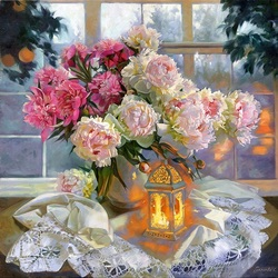 Jigsaw puzzle: Peonies on the window