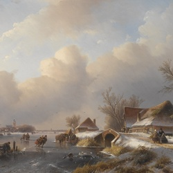Jigsaw puzzle: Winter landscape with skaters