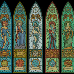 Jigsaw puzzle: Nine gods - stained glass
