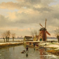 Jigsaw puzzle: Winter landscape with a mill
