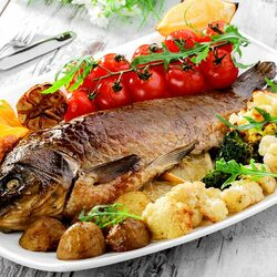 Jigsaw puzzle: Baked carp with vegetables