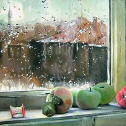 Jigsaw puzzle: Apples lay on the window