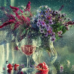 Jigsaw puzzle: Flowers washed in the rain
