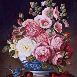 Jigsaw puzzle: Bouquet in a blue vase
