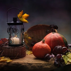 Jigsaw puzzle: Autumn fruits and candle
