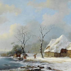 Jigsaw puzzle: Brushwood pickers in a snowy landscape