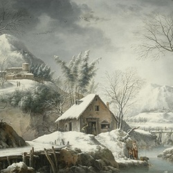 Jigsaw puzzle: Mountain winter landscape with figures